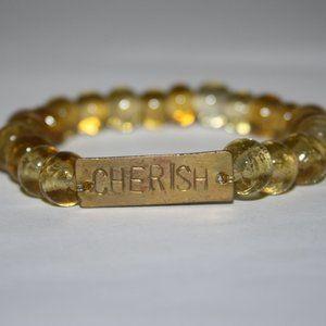 "Yellow glass and brass Cherish Bracelet 7"""